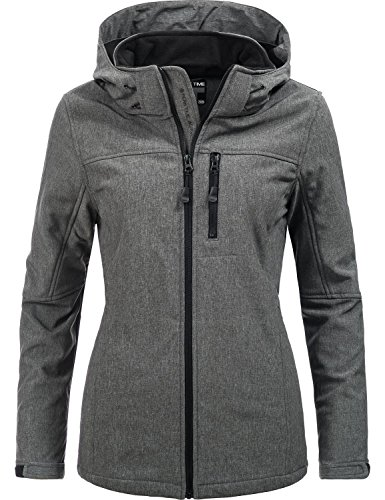 Peak Time Damen Übergangs-Jacke Softshelljacke L60028 Grau Gr. 38 - Peak Frauen Mantel
