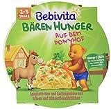 Bebivita Bären Hunger auf dem Ponyhof Spaghetti-Heu, Gartengemüse mit Erbsen und Hühnerfleischbällchen, 6er Pack (6 x 250 g)