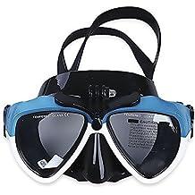 VILISUN Máscara de Buceo,Silicona Scuba Diving Snorkeling Máscara de Gafas de Natación con Vidrio Templado,Gafas de Buceo Impermeable con el Montaje Desmontable del Tornillo,Máscara de Esnórquel Anti-niebla y Anti-fugas para los adultos, niños