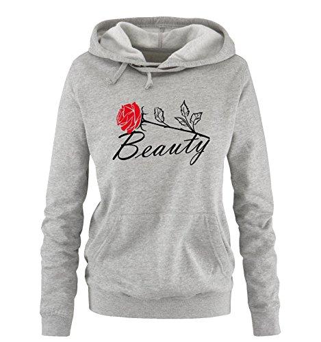 *Comedy Shirts – BEAUTY – Damen Hoodie – Grau / Schwarz-Rot Gr. S*