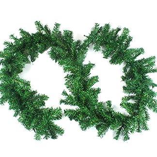 Aamcoam Guirnalda Navidad Chimenea Guirnalda Navidad Pino Artificial Guirnalda Navidad Verde PVC Guirnaldas Navidad Decoracion Guirnaldas de Navidad para Escalera Ventana Interior y Exterior 270cm
