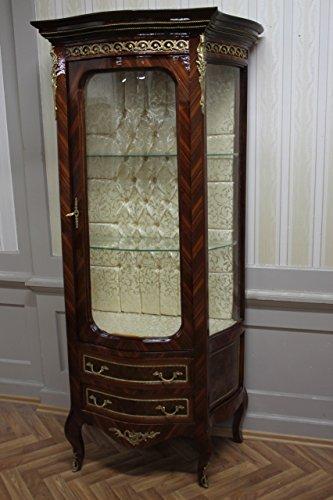 LouisXV Barock Vitrine Rokoko Antik Stil Schrank Louis XV MKVi0043 Antik Stil Massivholz. Replizierte Antiquitäten Buche Antikmessing.