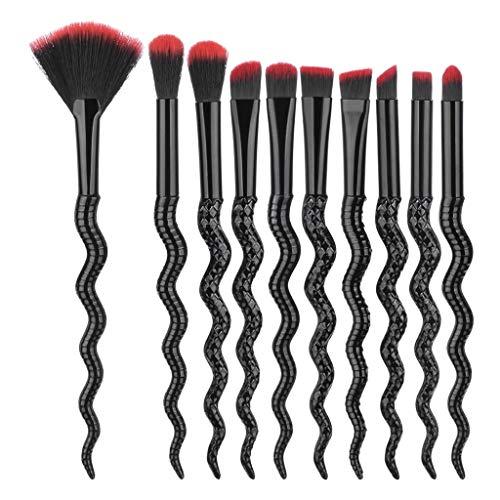 10 pièces Ewendy Pinceau de maquillage étrange Pinceau correcteur de maquillage professionnel mode (noir)