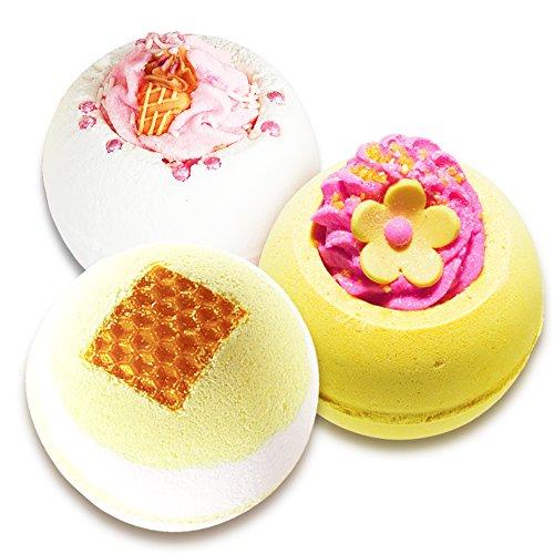 Badebomben Set, 3 Badekugeln Honig, Eiscreme und Grapefruit im Badeset, (3 x 160g) -