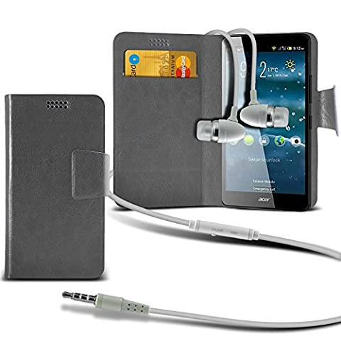 ( Grey +Earphones) Case for BLU Studio One case cover pouch High Quality Thin Faux Leather Suction Pad Wallet case Cover Skin With Credit/Debit Card Slots With Premium Quality in Ear Buds Stereo Hands Free Headphones Headset with Built in Micro phone Mic and On-Off Button BLU Studio One case by i-Tronixs