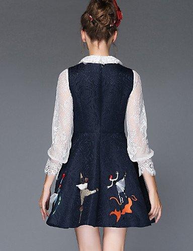 LYQ/ Robe Aux femmes Grandes Tailles Grandes Tailles / Vintage / Soirée / Travail / Décontracté , Couleur Pleine / Jacquard Col Arrondi Mi-long blue-s