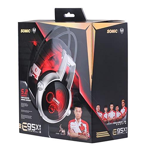 TGSKGZKJDBMD Headsets Authentische Somic E95X 5.2 Mehrkanal-Vibration Headset Super Bass Noise Cancelling Kopfhörer mit LED, Mikrofon für PS4 FPS Spiel, mit Kleinkasten