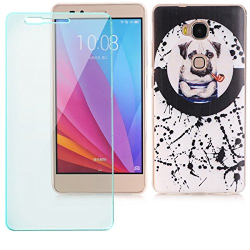 "Saxonia Schutzhülle + Panzerglas Apple iPhone 8 / iPhone 7 (4,7"") Hülle Ultra Slim Silikon Case Cover mit Design / Motiv Dont Touch My Phone Transparent (klar) Hund mit Pfeife"