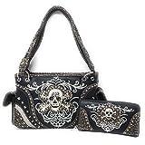 Texas Westen Online Frauen DES Metallschädel-Handtasche Medium-Gold/Schwarz