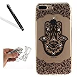 Leeook Diamant Case für iPhone 7 Plus,Glitzer Hülle für iPhone 7 Plus, Kreative Boble Schön Bling Schwarz Palme Auge Blume Muster Entwurf Ultra Dünn Schlank Durchsichtig Transparent Clear Sparkles Strass Diamond Silikon TPU Handy Hülle Schutzhülle Scratch-Resistant Bumper Soft Rückseite Case Cover Skin Shell Gel Tasche für iPhone 7 Plus (5.5 Zoll) + 1 x Schwarz Eingabestift-Black Palm Eye Flower