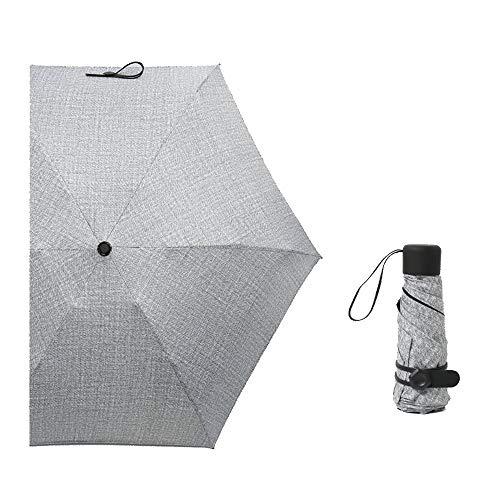 Ultra-Leichtgewicht Winddicht Sonne & Regen UV-Schutz Manuelles Falten Tragbar Mini Taschenschirm 6 Knochen Dauerhaft (Color : Gray)