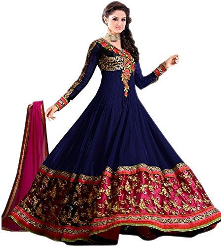 Market Magic World Women's Georgette Semi stitched Anarkali Salwar Suits Sets (Free Size_ Blue _Dress_MMW2186)