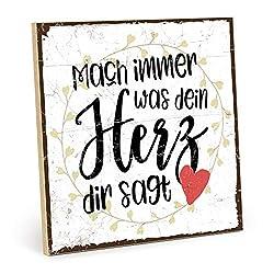 TypeStoff Holzschild mit Spruch - MACH Immer, was Dein Herz DIR SAGT - Shabby chic Retro Vintage Nostalgie deko Typografie-Grafik-Bild bunt im Used-Look aus MDF-Holz (19,5 x 19,5 cm)