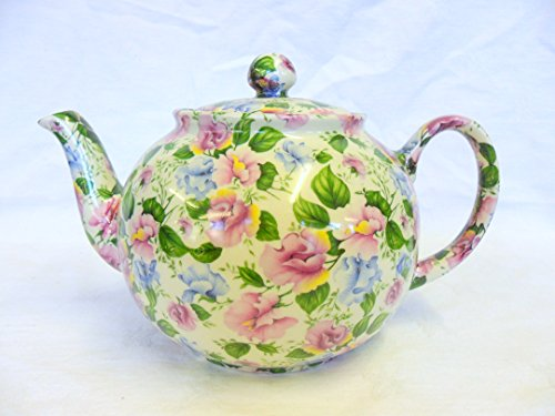 Pink And Blue Sweetpea 6 Cup Teapot By Heron Cross Pottery.