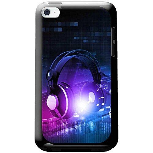 Kopfhörer auf DJ-Deck Turntables Hartschalenhülle Telefonhülle zum Aufstecken für Apple iPod Touch 4th Generation