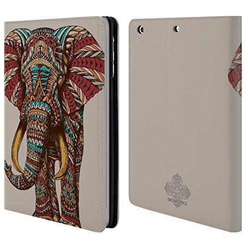 Offizielle Bioworkz Elefant Verziert 1 Bunte Wildtiere 1 Brieftasche Handyhülle aus Leder für Apple iPad mini 1 / 2 / 3