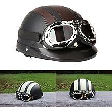 ad7790027b0cb ViZe Cascos Moto Perno Medio Casco Abierto Motocicleta Unisex Protección  Motocicleta Con Visera y Bufanda 54