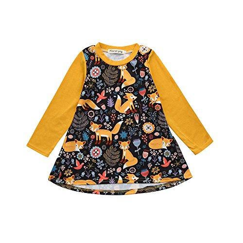 YWLINK Kleinkind MäDchen Cartoon Tier Fox Drucken Pulloverkleid Lange ÄRmel A Line Kleidung Outfits(Gelb,Größe: ()