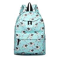 Miss Lulu Women Girls Canvas Backpack Rucksack School Shoulder Bag Unicorn Butterfly Polka Dots Horse Cat Fish Elephant Pow Cartoon Prints (Unicorn Blue)