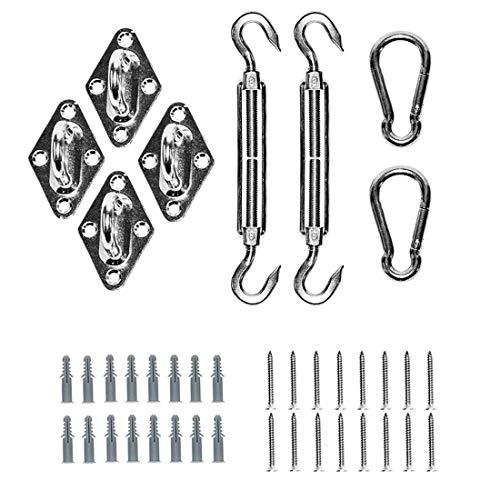 Tebery Kit de fixation Voile d'ombrage - Acier inoxydable 304 Kit Accessoires de fixation de matériel pour Voile d'ombrage, Toile d'ombrage Triangulaire, Carré