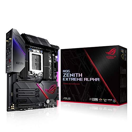 ASUS ROG ZENITH EXTREME ALPHA - Carte mère gaming (EATX AMD X399, CPU AMD Ryzen Threadripper,ROG DIMM.2, DDR4 3 600 MHz, Wi-Fi 802.11ac, LAN 10 Gb/s, USB 3.1 Gen 2, SATA, triple M.2, Aura Sync RGB)