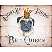 by Sean Aherne Art Fawn Pug Dog Shabby Chic Wooden Sign Plaque Picture Print