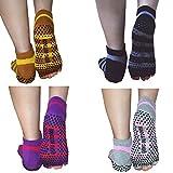 Las mujeres de algodón sin dedos Yoga Pilates calcetines perfecto para yoga, pilates y Barre antideslizante gimnasio Entrenamiento danza viaje Pack de 4, strip ( 4 pairs)