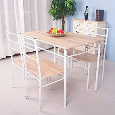 FurnitureR 5-Piece Dining Kitchen Set (Oak&White) produced by FurnitureR - quick delivery from UK.