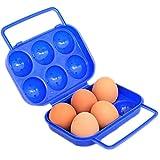 Dosige Tragbar Ei Behälter Kunststoff Eier Träger Halter Lagerung Transportbox Ei-Speicher für 6 Eier Outdoor Camping Picknick - Blau