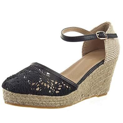 Sopily - Chaussure Mode Escarpin Sandale Plateforme hauteur cheville femmes corde dentelle boucle Talon compensé 8 CM - Noir - FRF-CY232-1 T 41