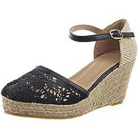 Sopily - Scarpe da Moda scarpe decollete sandali Zeppe alla caviglia donna corda merletto fibbia Tacco zeppa 8 CM - Nero