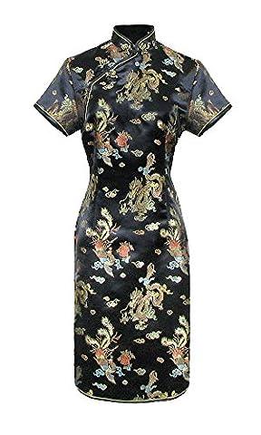 Robe chinoise Qipao noir motif dragon à petites manches -