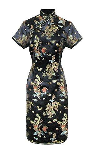 Geisha Kostüm Frauen - Kurzes Chinesisches kleid schwarz qipao ärmelkurz Drachenmotiv 46