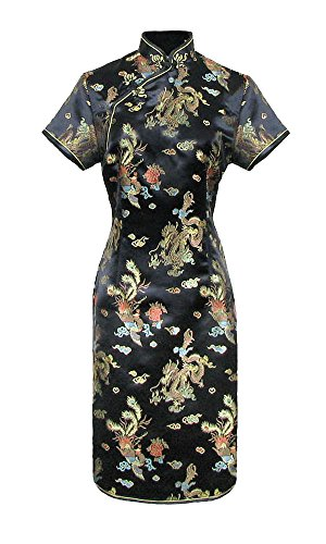 Chinese Short Sleeve Qipao Dress Black – size: 38