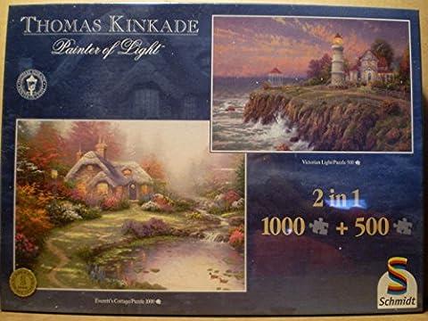 Thomas Kinkade 2 Puzzle 500 + 1000 Teile Victorian Light + Everetts Cottage