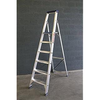 ASC Stufenstehleiter, Alu-Trittleiter, Standleiter, 6 extrabreite Stufen, DIN-EN 131 bis 150 kg, Profi-Qualität