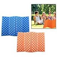 OFKPO 2PCS Compact Foldable Seat Portable Waterproof Seat Foam Foldable Folding Seat For Camping (Blue And Orange)