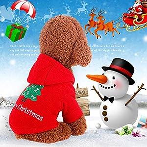 """Katze/Hund-Weihnachtsmann-Kostüm, mit """"Merry Christmas""""- und Weihnachtsbaum-Muster, Baumwollkleidung, Kapuzenpullover für Katze/Hund, Größe: XS, S, M, L, XL"""