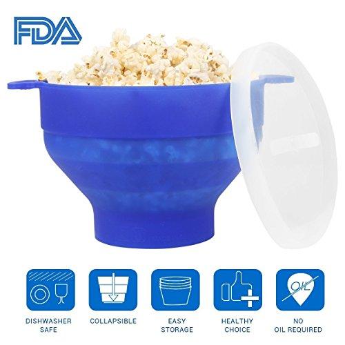 Uvistare Recipiente/Bol para cocinar Palomitas en MicroondasTazón de la Palomitas de maíz Material de Silicona y BPA Libre,Azul