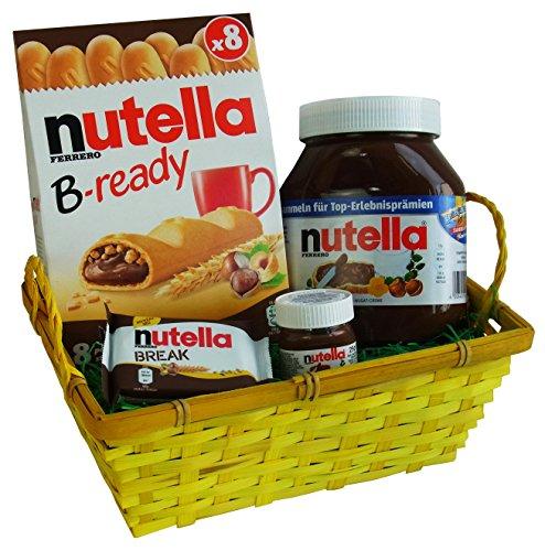 Geschenk Set Sommer Körbchen mit Ferrero Nutella und Nutella BREAK (4-teilig)
