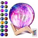 Laelr Lámpara de Luna, 16 Colores Impreso en 3D Luz de Luna llena USB Recargable LED Luz de Noche...