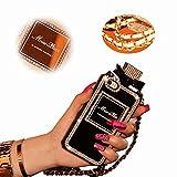 iPhone 8 Hülle Bling, MingKun TPU Silikon Diamant Handyhülle für iPhone 7 / iPhone 8 Schutzhülle Parfüm-Flasche Mode Diamond Rhinestone Case Cover - Perfume Schwarz
