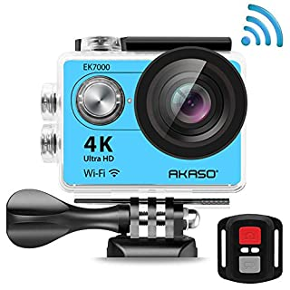 AKASO EK7000 4K Action Camera WIFI Ultra HD Waterproof Sports DV Camcorder 12MP, 2.4G Remote 2 Rechargeable Batteries, 170 Degree Wide Angle 2 inch LCD Screen- Silver (Manufacturer Refurbished) …