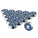 SODIAL 16 x Cuscinetti per skateboard 608RS - Cuscinetto a rulli ABEC 9 senza attrito per tavole da skateboard