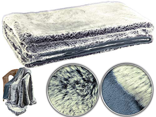 Wilson Gabor Web Pelz Decken: Hochwertige Pelzimitat-Decke in Blaufuchsfell-Optik, 200 x 150 cm (Kuscheldecken)