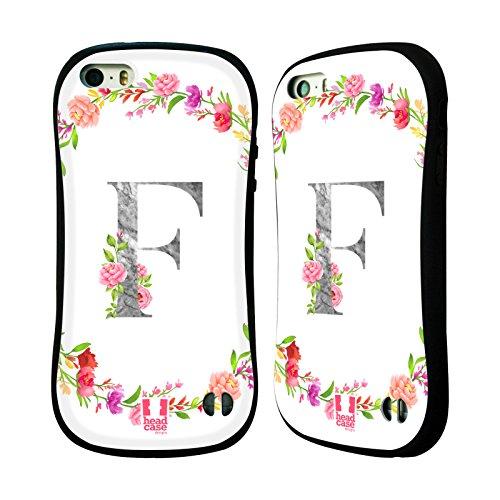 Head Case Designs Buchstabe F Dekorative Initialen Hybrid Hülle für Apple iPhone 5 iPhone 5s iPhone SE