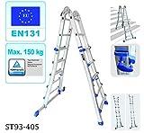 Scala telescopica multiuso con sistema di combinazione dei gradini, 4x 5pioli, scaletta di estensione: 4,7m