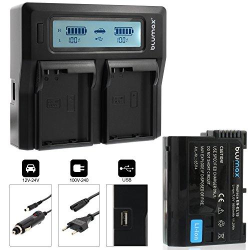 Blumax Profi Akku Nikon EN-EL15 1600mAh mit Infochip Doppelladegerät für Nikon EN-EL15 Akku Dual Charger 2 Akkus gleichzeitig Laden
