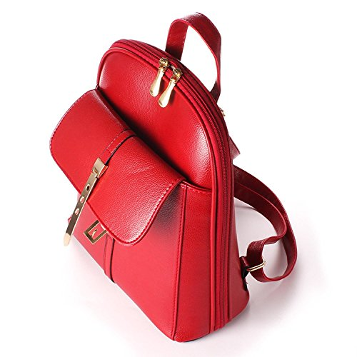 Oumizhi Vintage Zaino A Spalla Pu In Pelle Per La Scuola Something Travel Backpack Ladies Wine Red