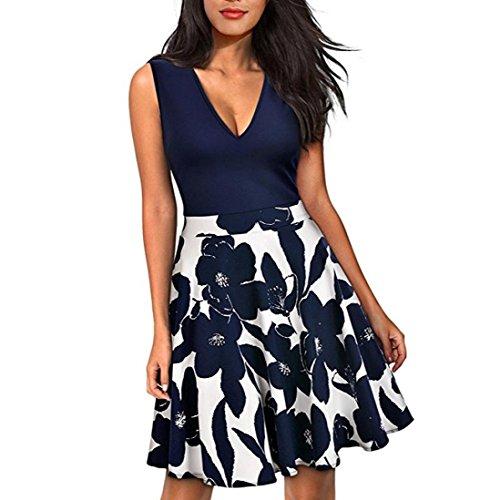 Kleid Transer® Damen Schlank Sleeveless Kleider Täglich Polyester Drucken Gelb Blume Tief V-Ausschnitt Minikleid Gr.S-XL Marine
